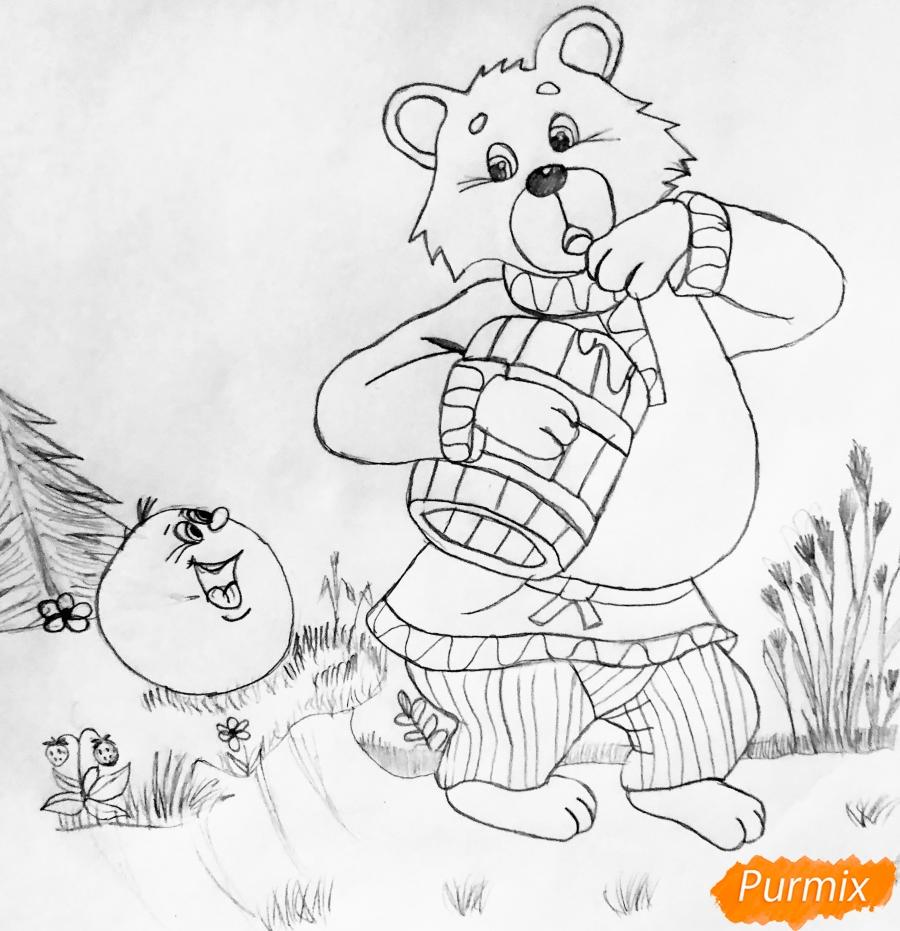 Рисуем колобка мишку и цветными карандашами - шаг 5