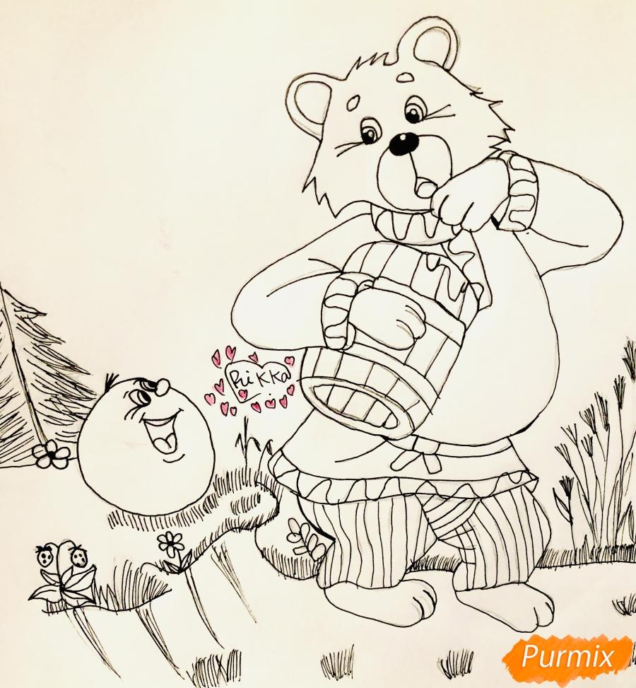 Рисуем колобка мишку и цветными карандашами - шаг 6