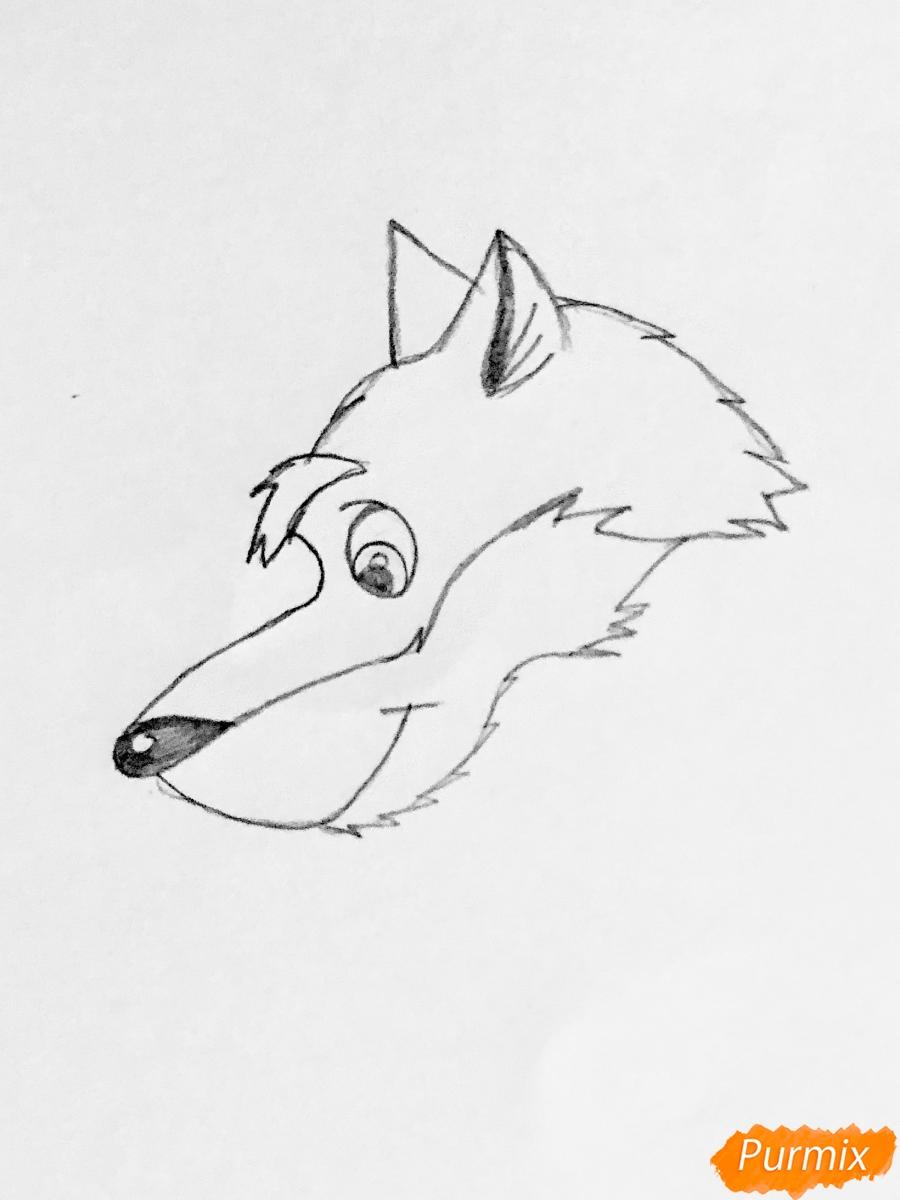 Рисуем волка и колобка цветными карандашами - шаг 1