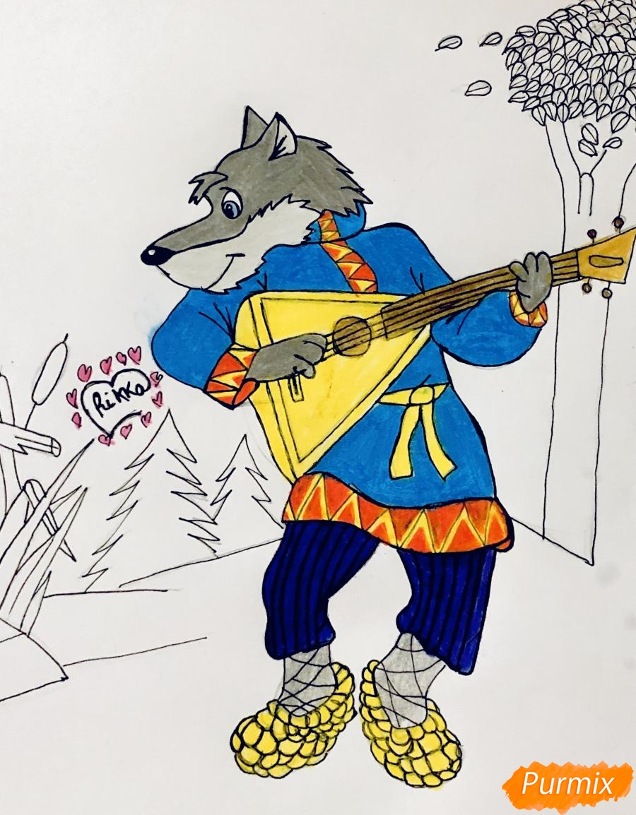 Рисуем волка и колобка цветными карандашами - шаг 10
