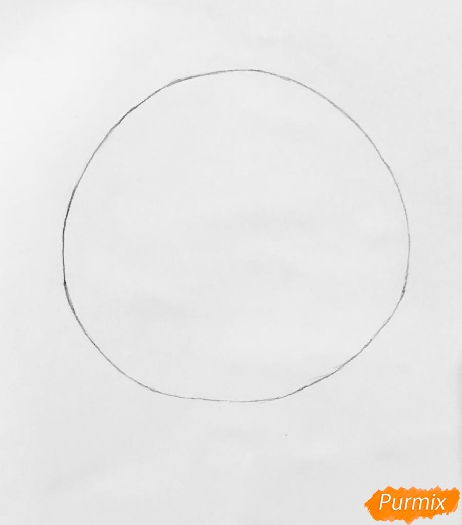 Рисуем Колобка на пеньке карандашами - шаг 1