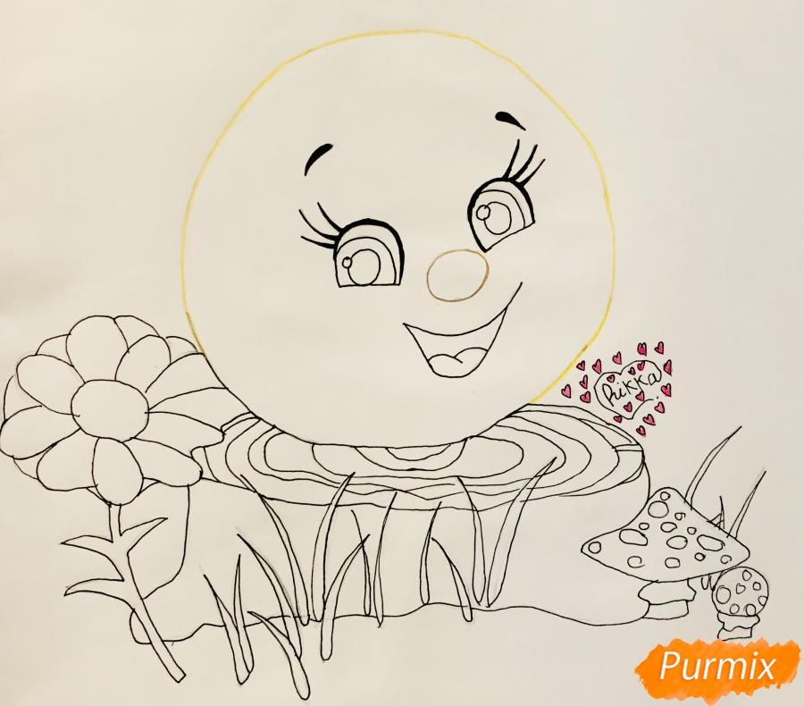 Рисуем Колобка на пеньке карандашами - шаг 5