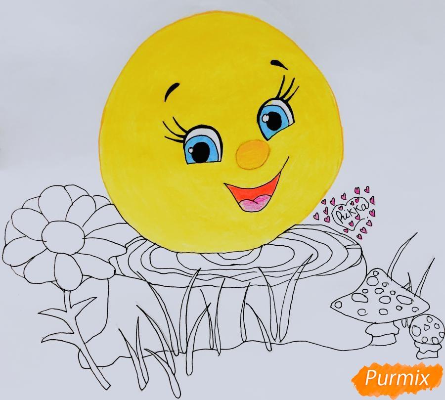 Рисуем Колобка на пеньке карандашами - шаг 6