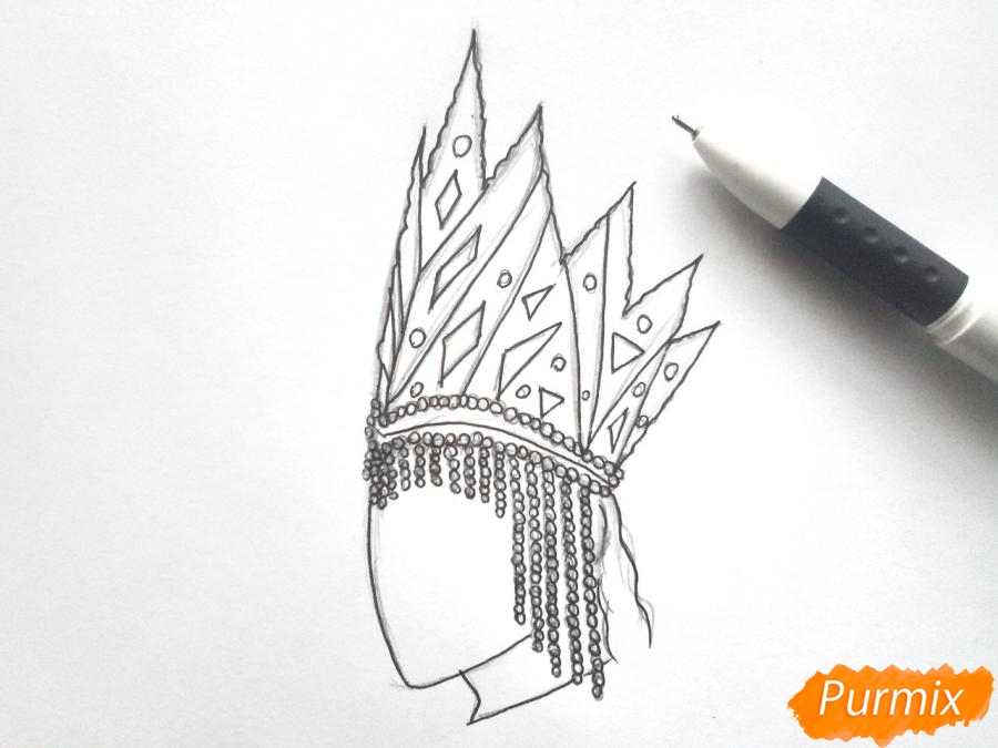 Рисуем корону Снежной королевы - шаг 4