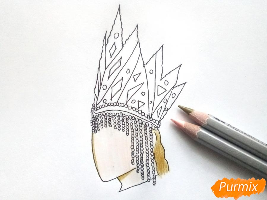 Рисуем корону Снежной королевы - шаг 5