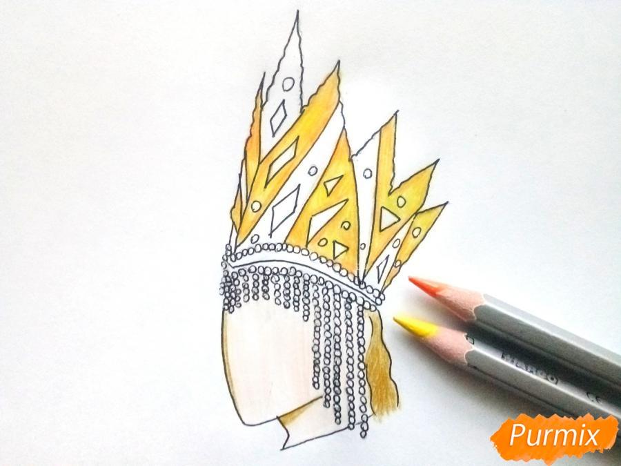 Рисуем корону Снежной королевы - шаг 6