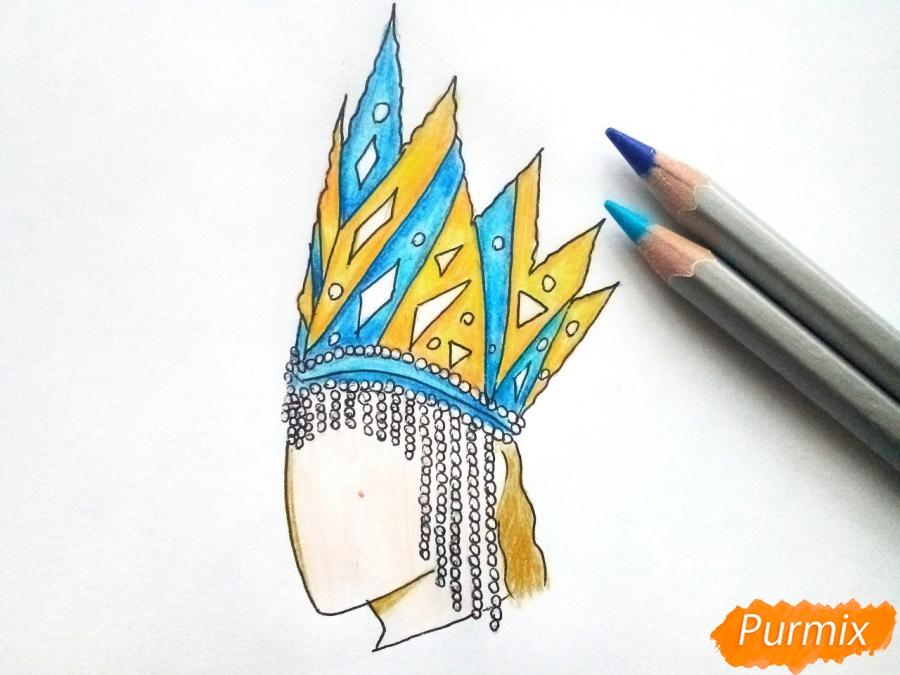 Рисуем корону Снежной королевы - шаг 7