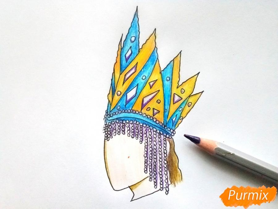 Рисуем корону Снежной королевы - шаг 8