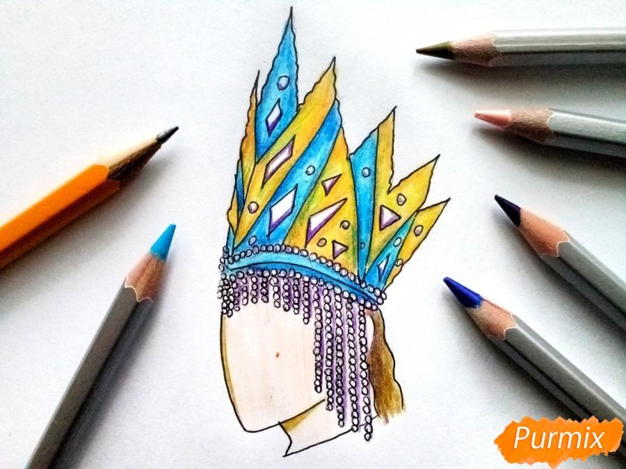 Рисуем корону Снежной королевы - шаг 9