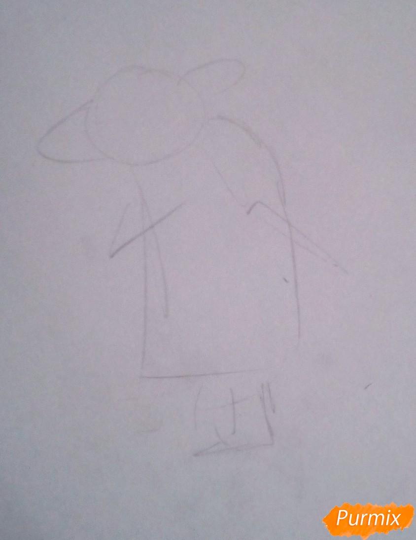 Рисуем крысу Шушера из Буратино карандашами - шаг 1