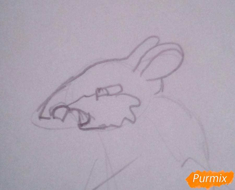 Рисуем крысу Шушера из Буратино карандашами - шаг 2