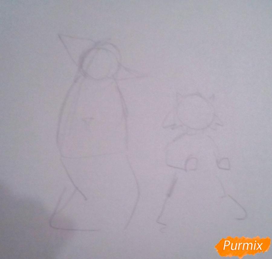 Рисуем лису Алису и кота Базилио из Буратино карандашами - шаг 1