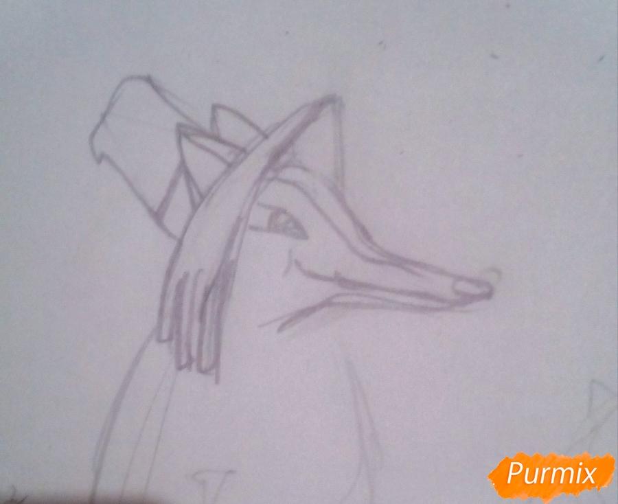 Рисуем лису Алису и кота Базилио из Буратино карандашами - шаг 2