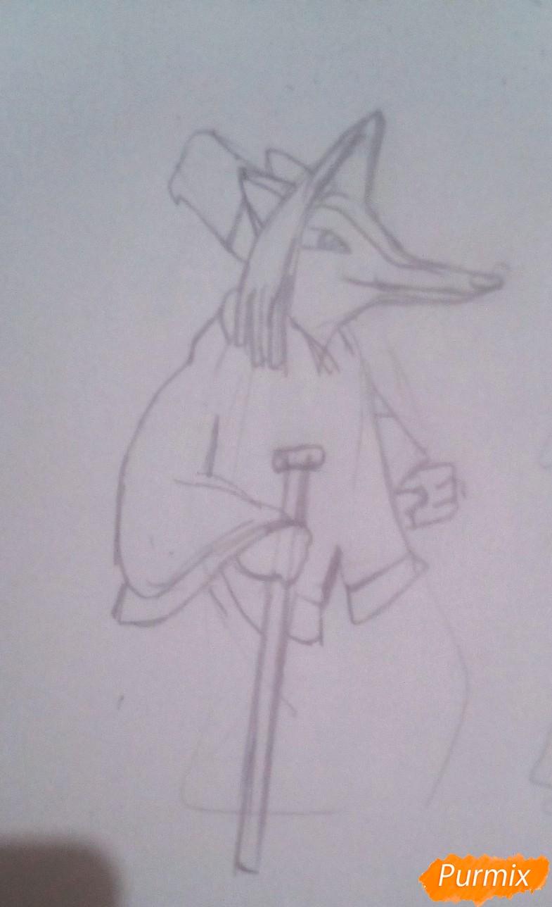 Рисуем лису Алису и кота Базилио из Буратино карандашами - шаг 3