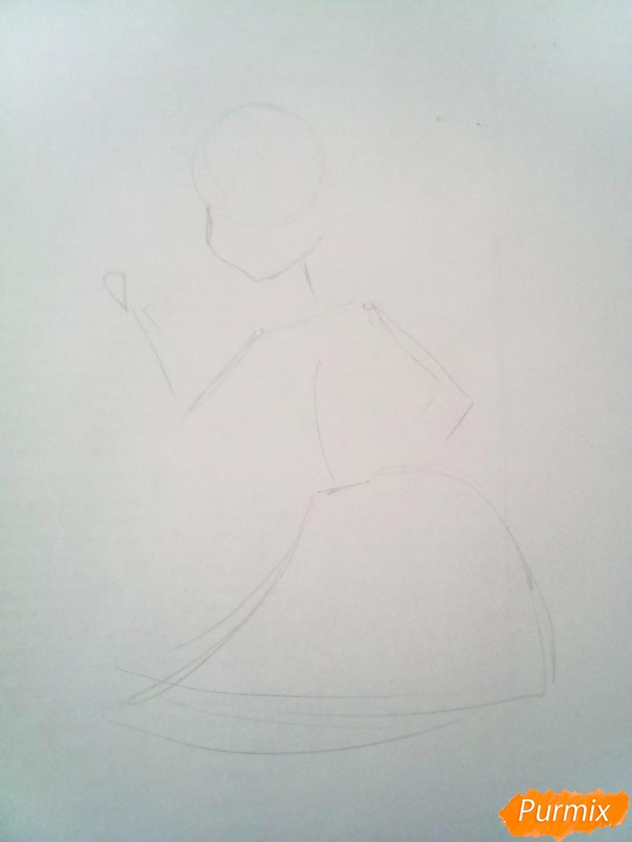 Рисуем Мальвину цветными карандашами - шаг 1