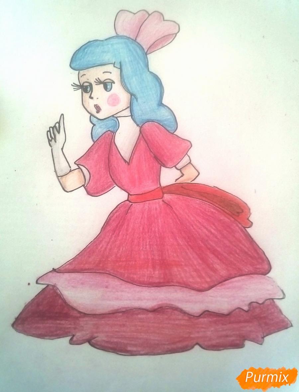 Рисуем Мальвину цветными карандашами - шаг 13