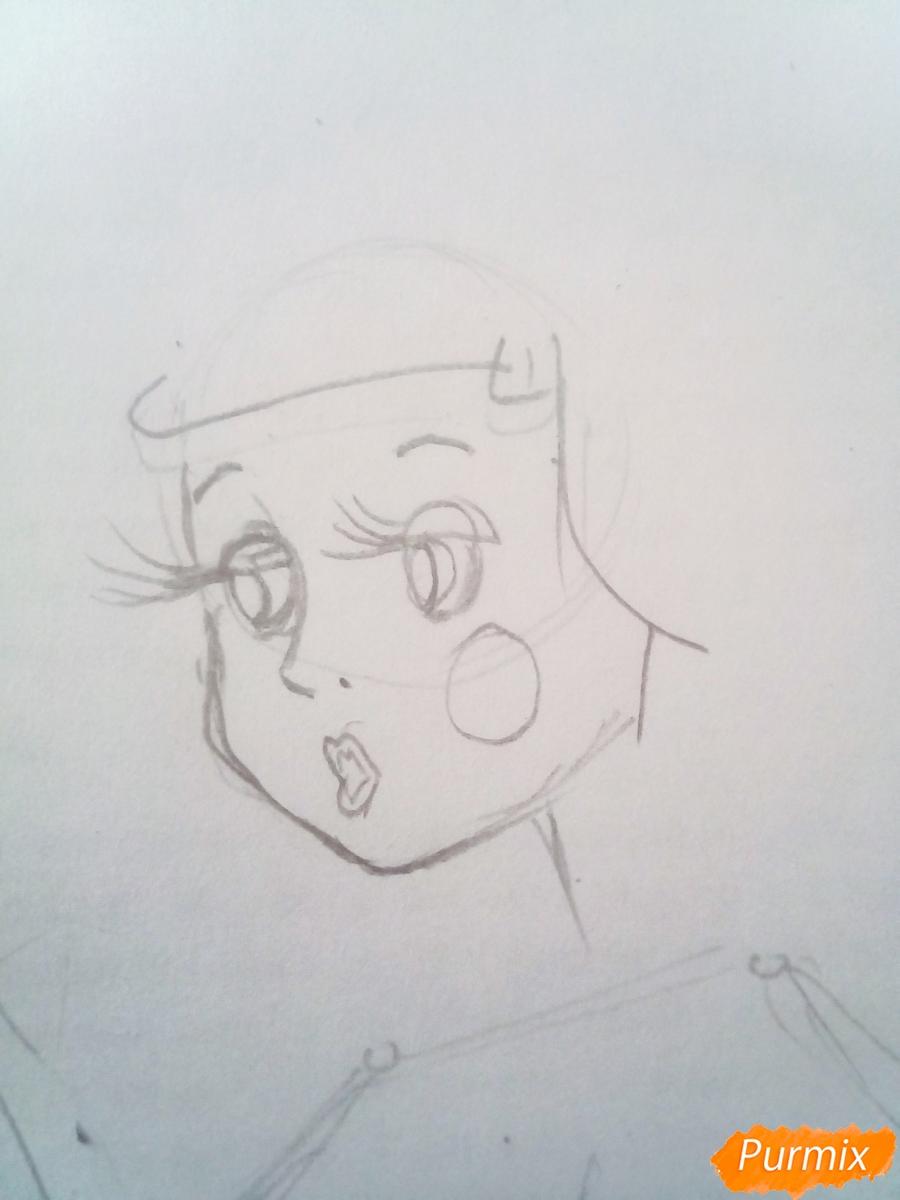 Рисуем Мальвину цветными карандашами - шаг 2