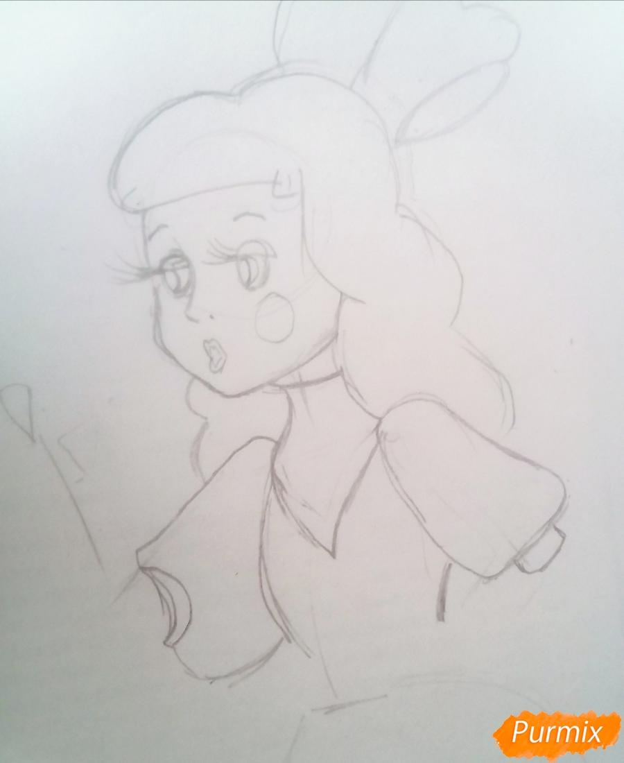 Рисуем Мальвину цветными карандашами - шаг 5
