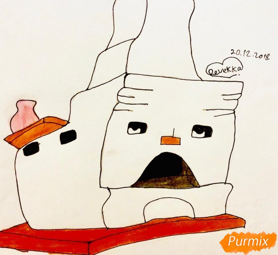 Рисуем печку из сказки Гуси Лебеди - шаг 5