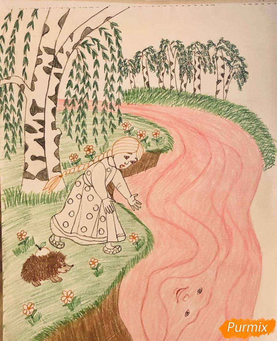 Рисуем молочную реку с Алёнушкой и ёжиком из сказки Гуси Лебеди - шаг 10
