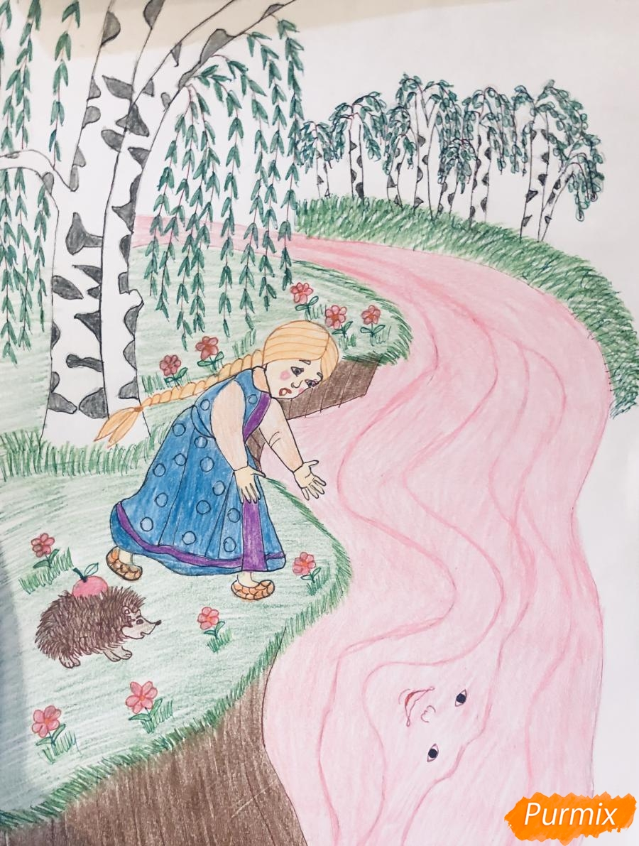 Рисуем молочную реку с Алёнушкой и ёжиком из сказки Гуси Лебеди - шаг 11