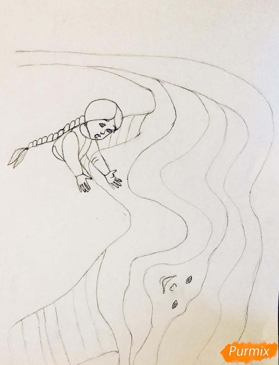 Рисуем молочную реку с Алёнушкой и ёжиком из сказки Гуси Лебеди - шаг 2