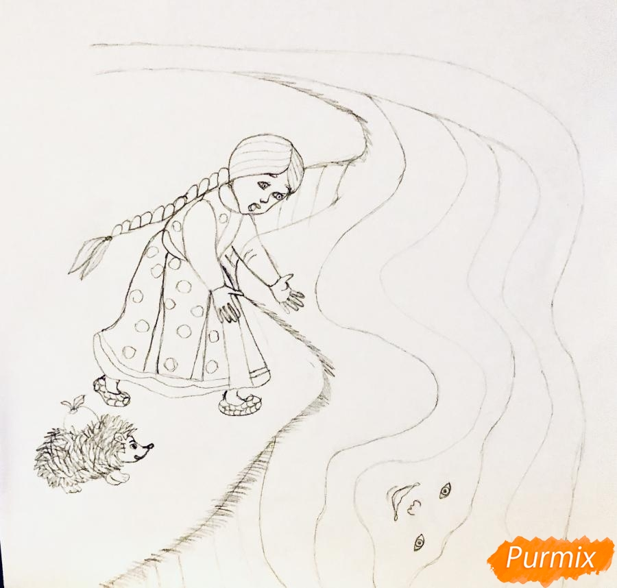 Рисуем молочную реку с Алёнушкой и ёжиком из сказки Гуси Лебеди - шаг 3
