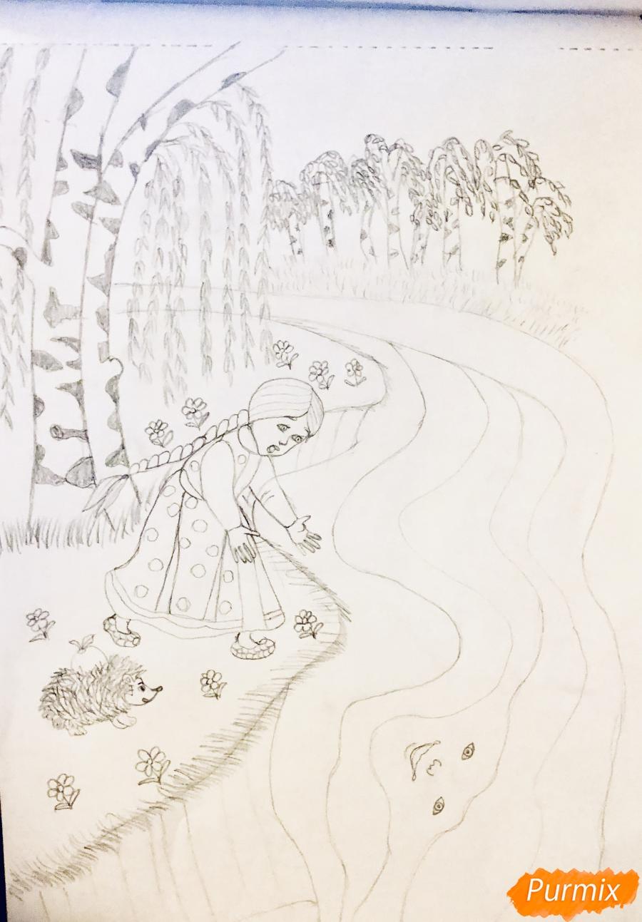 Рисуем молочную реку с Алёнушкой и ёжиком из сказки Гуси Лебеди - шаг 4