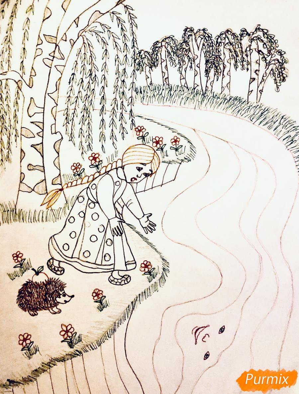 Рисуем молочную реку с Алёнушкой и ёжиком из сказки Гуси Лебеди - шаг 6