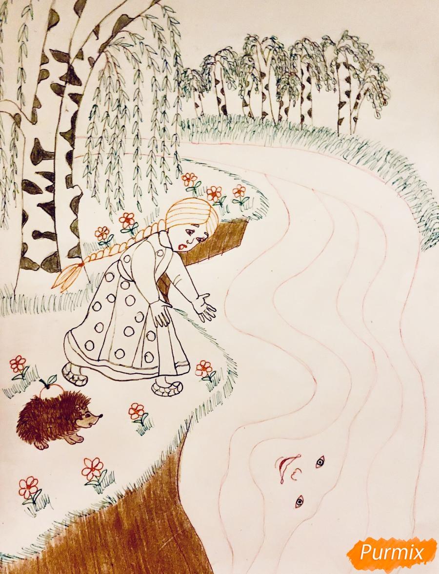 Рисуем молочную реку с Алёнушкой и ёжиком из сказки Гуси Лебеди - шаг 8