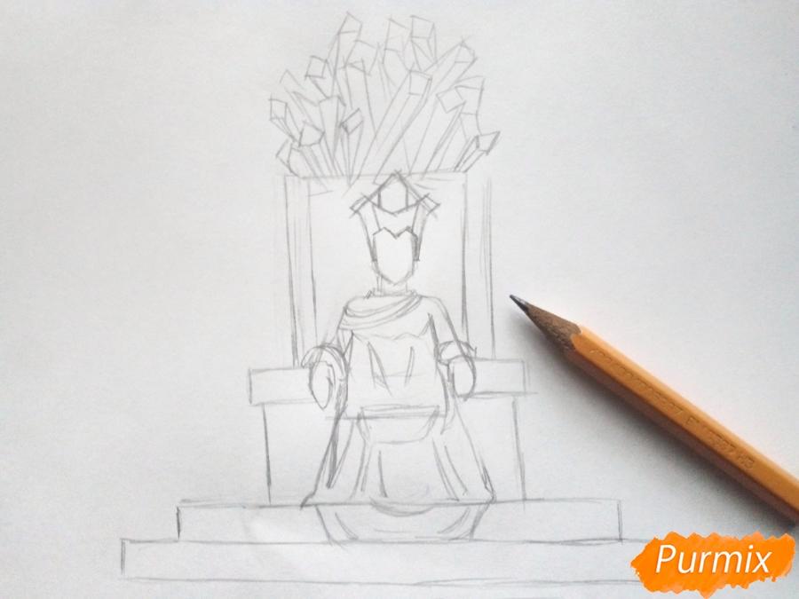Рисуем Снежную королеву на троне - шаг 4