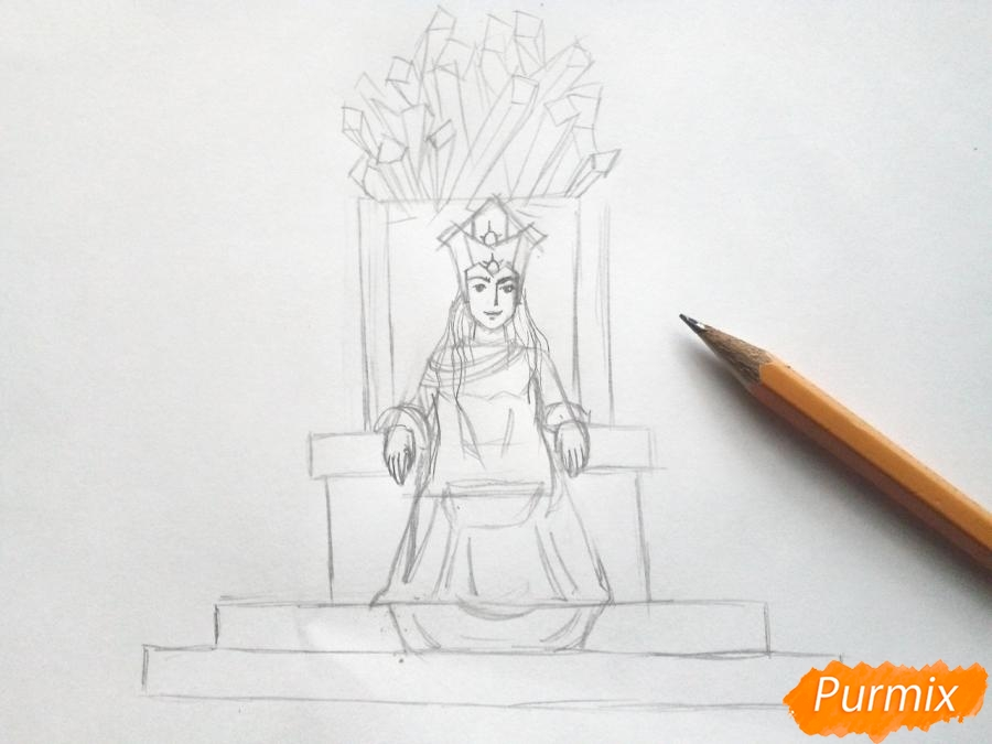Рисуем Снежную королеву на троне - шаг 5