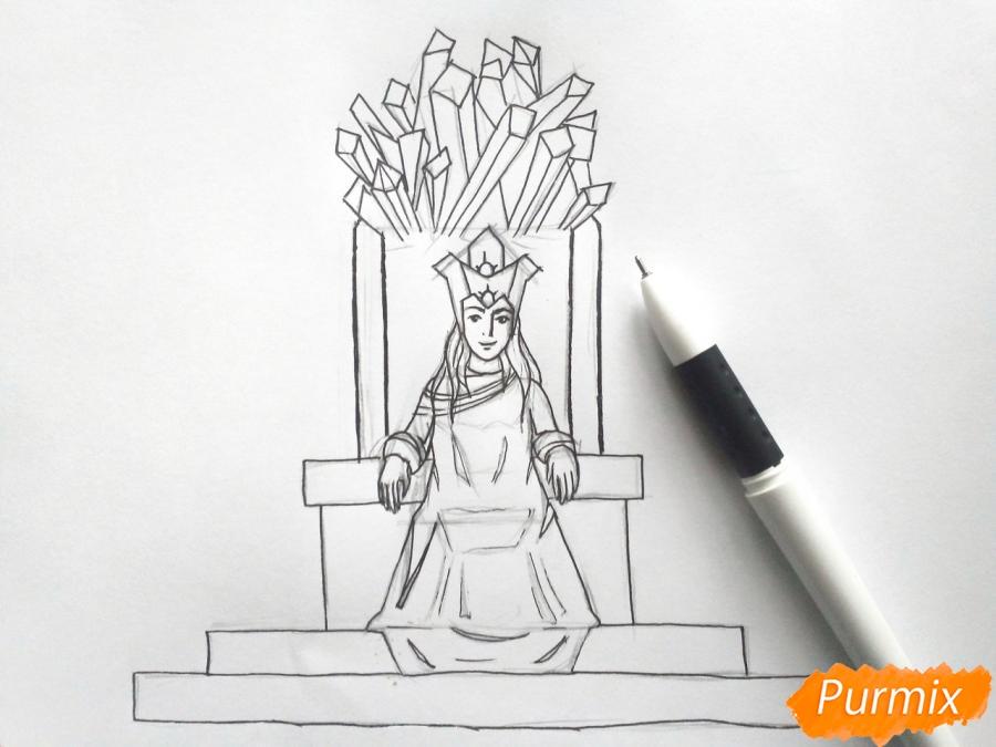 Рисуем Снежную королеву на троне - шаг 6