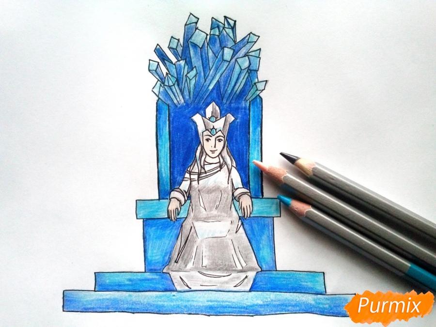 Рисуем Снежную королеву на троне - шаг 8