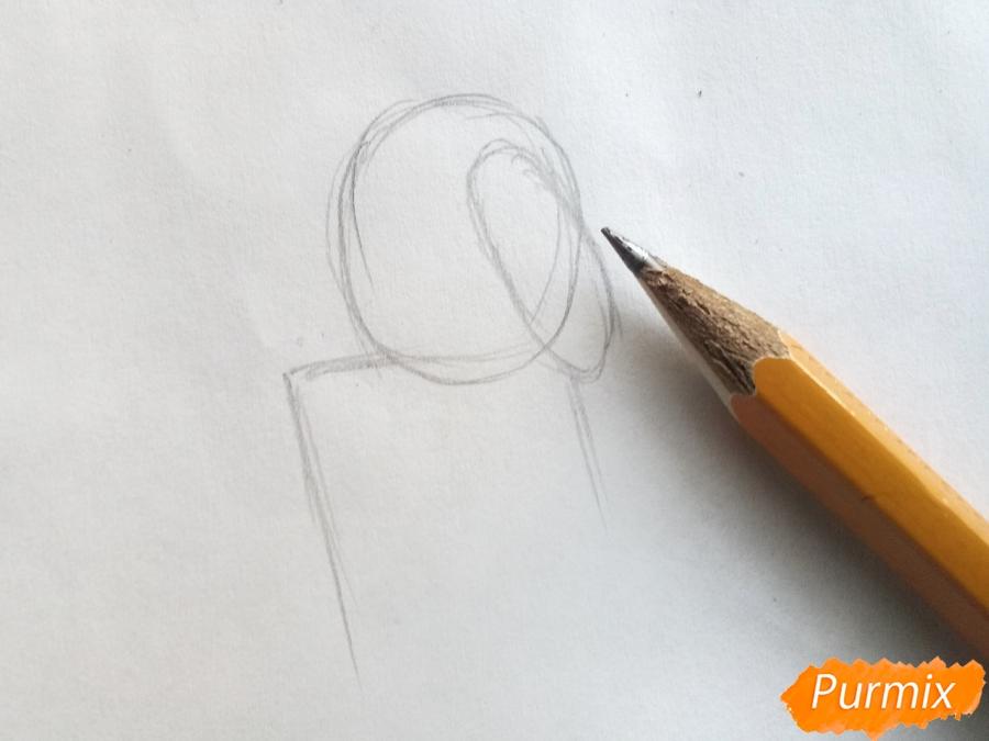 Рисуем тролля из сказки Снежная королева карандашами - шаг 1