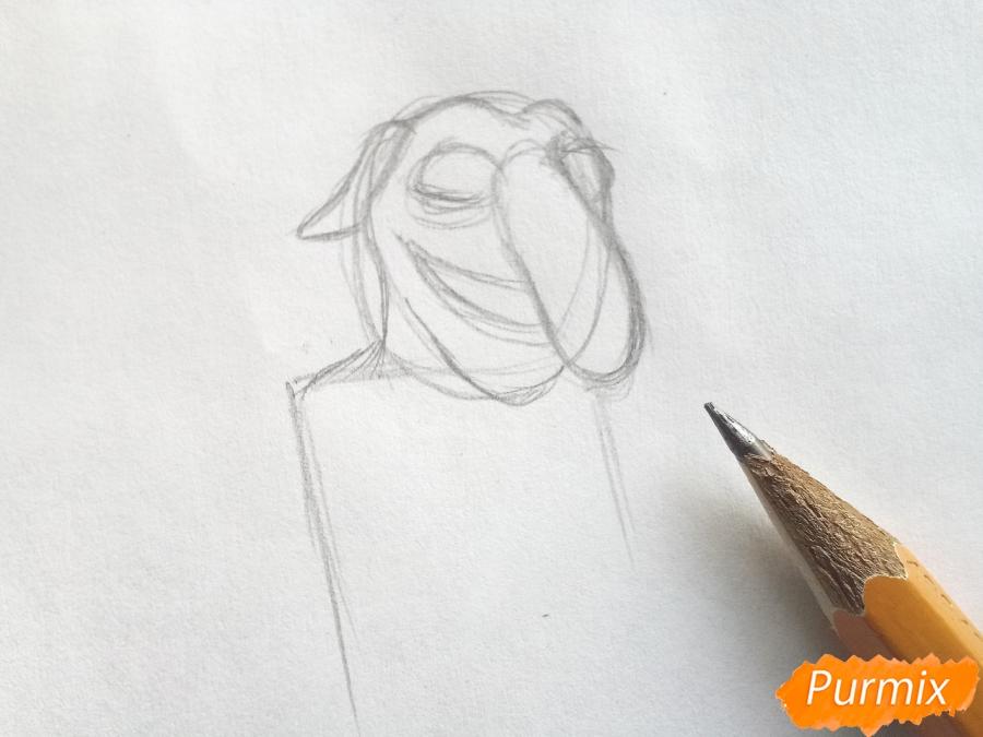 Рисуем тролля из сказки Снежная королева карандашами - шаг 2