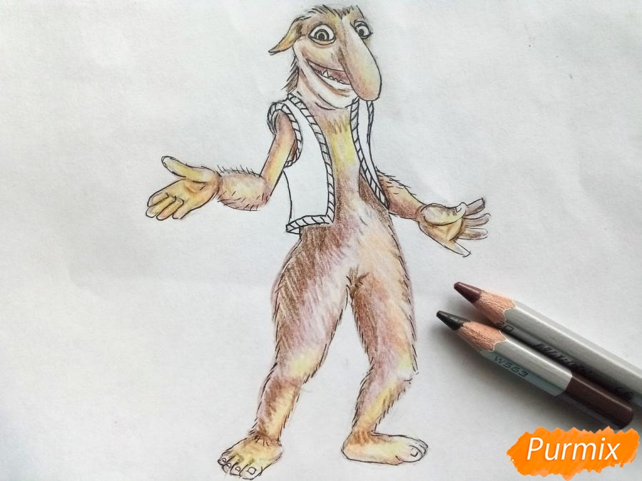 Рисуем тролля из сказки Снежная королева карандашами - шаг 7
