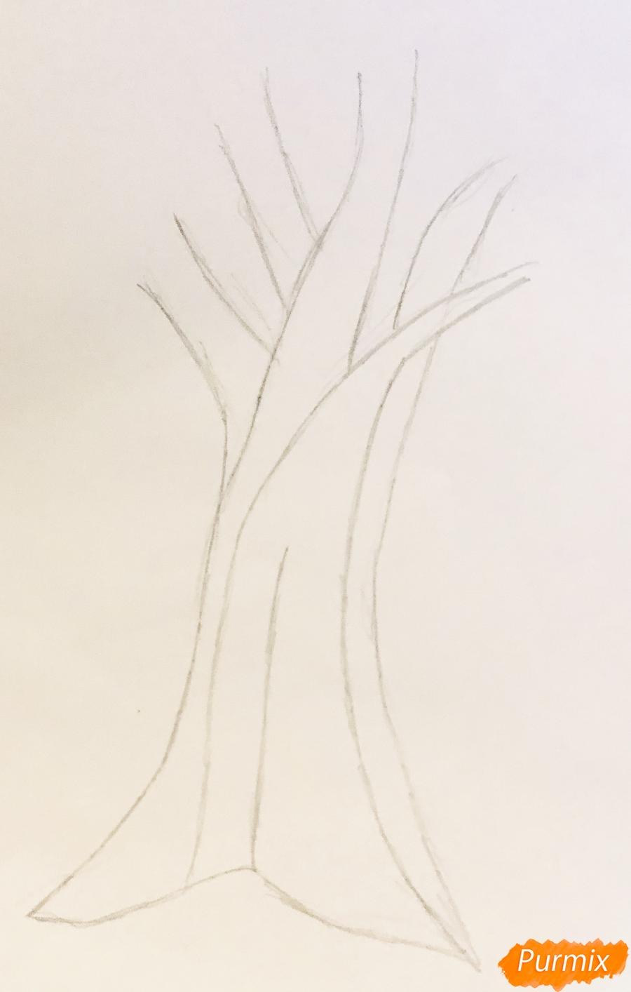 Рисуем яблоню из сказки Гуси Лебеди карандашами - шаг 1