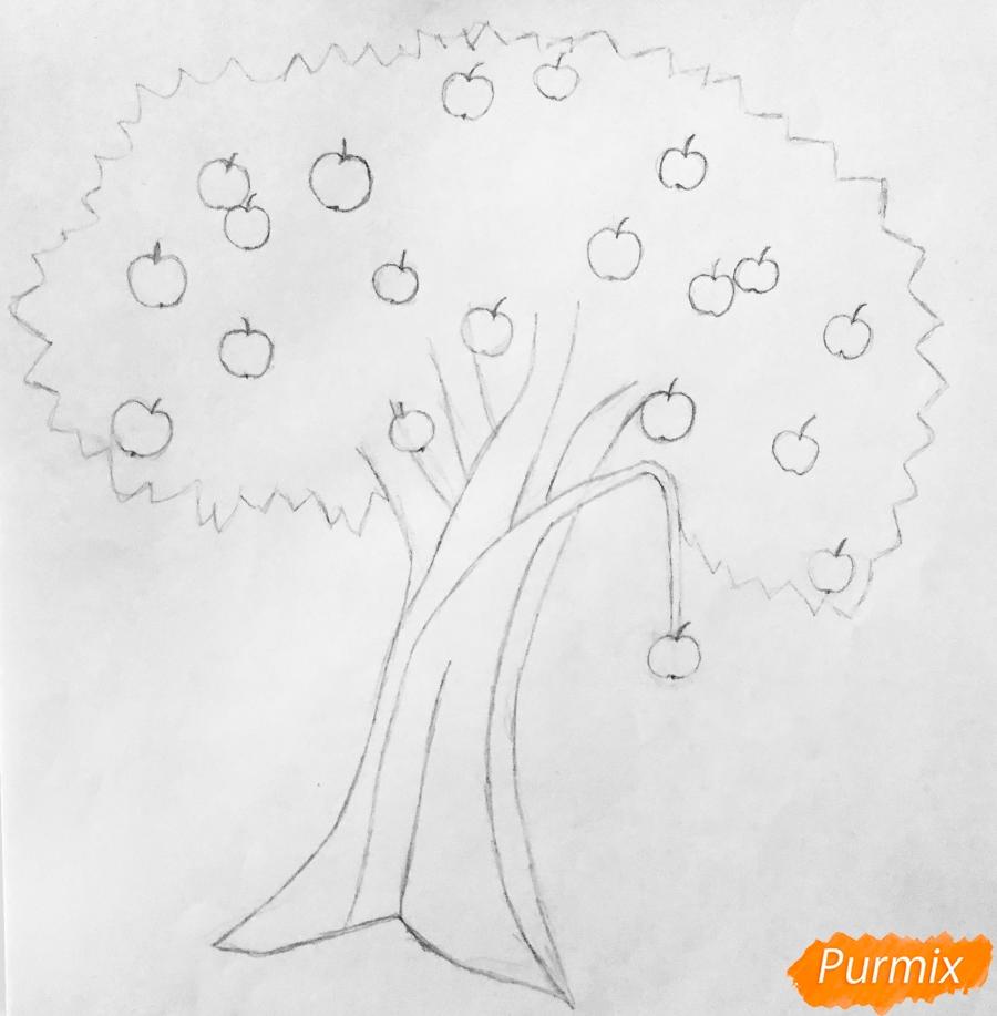 Рисуем яблоню из сказки Гуси Лебеди карандашами - шаг 2