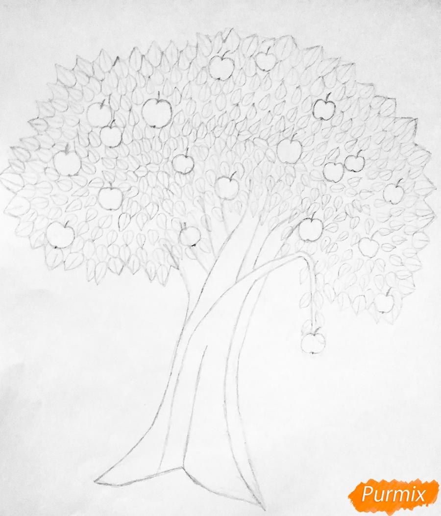 Рисуем яблоню из сказки Гуси Лебеди карандашами - шаг 3