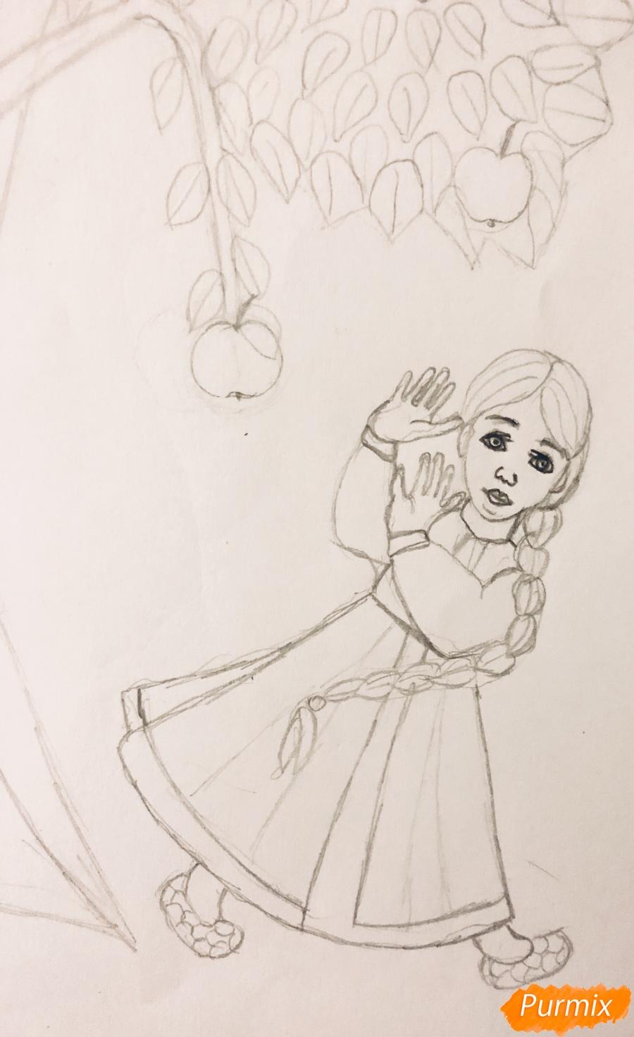 Рисуем яблоню из сказки Гуси Лебеди карандашами - шаг 4