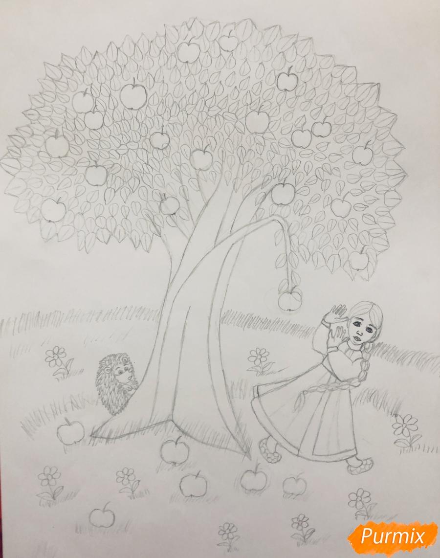 Рисуем яблоню из сказки Гуси Лебеди карандашами - шаг 5