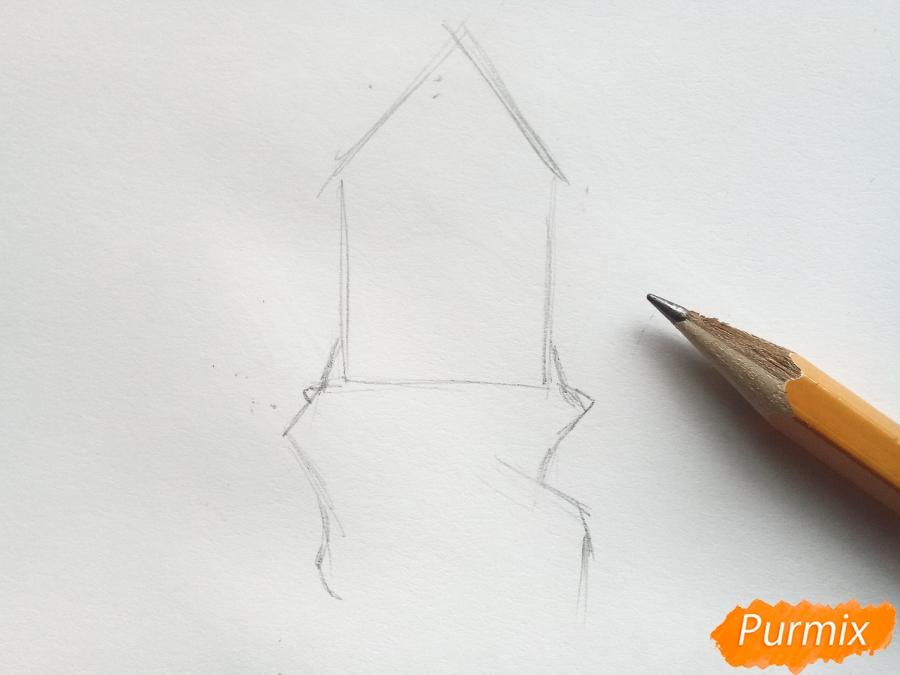 Рисуем замок Снежной королевы карандашами - шаг 1