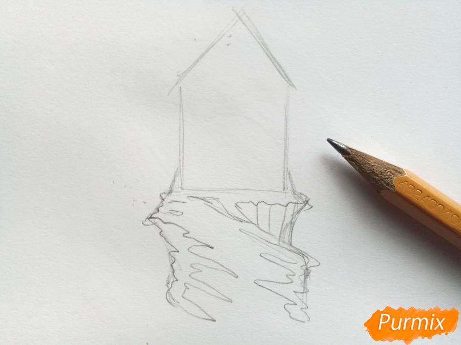 Рисуем замок Снежной королевы карандашами - шаг 2