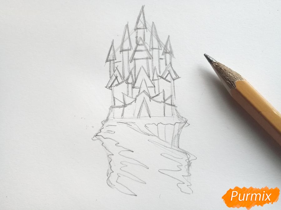 Рисуем замок Снежной королевы карандашами - шаг 3