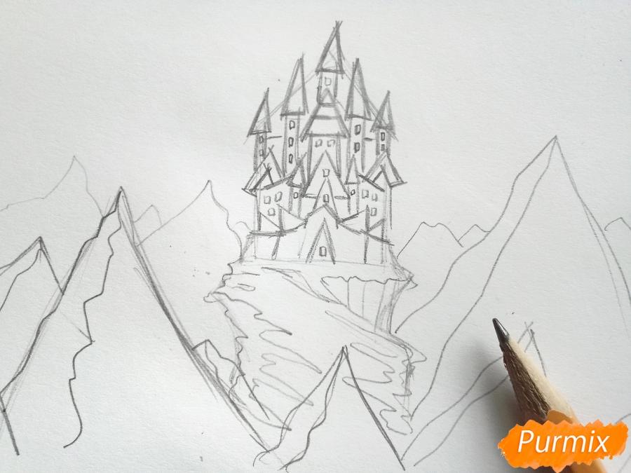 Рисуем замок Снежной королевы карандашами - шаг 4