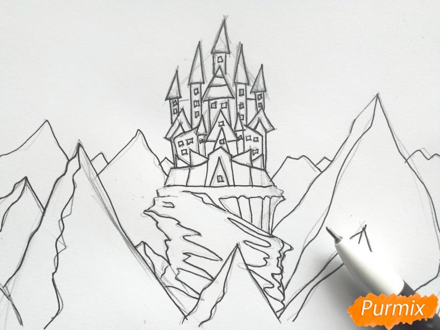 Рисуем замок Снежной королевы карандашами - шаг 5