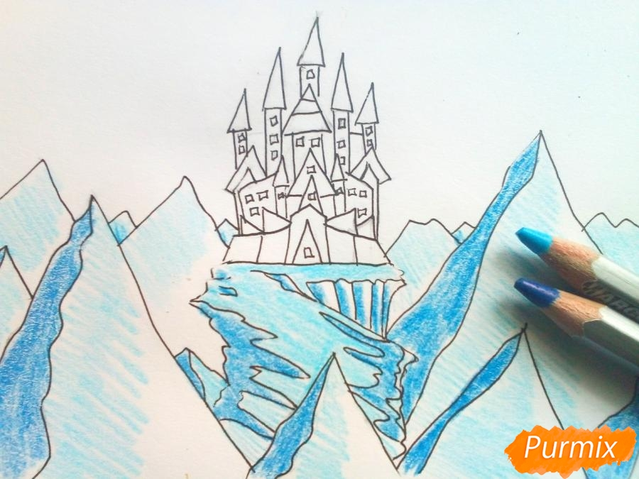 Рисуем замок Снежной королевы карандашами - шаг 6