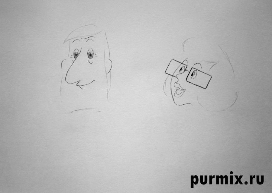 Рисуем папу и маму из Трое из Простоквашино - шаг 2