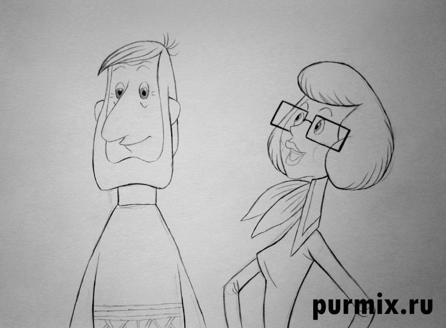 Рисуем папу и маму из Трое из Простоквашино - шаг 4